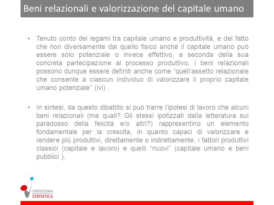 Beni relazionali e valorizzazione del capitale umano