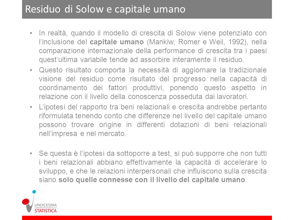 Residuo di Solow e capitale umano