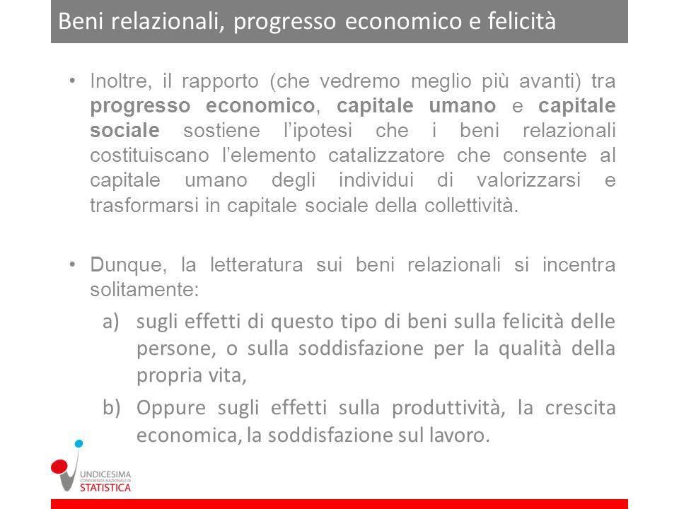 Beni relazionali, progresso economico e felicità