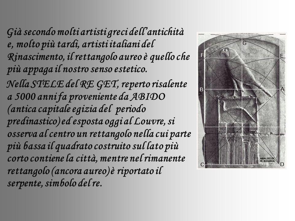 Già secondo molti artisti greci dell'antichità e, molto più tardi, artisti italiani del Rinascimento, il rettangolo aureo è quello che più appaga il nostro senso estetico.