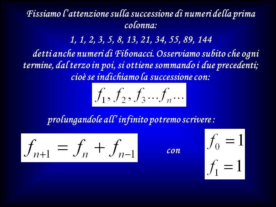 Fissiamo l'attenzione sulla successione di numeri della prima colonna: