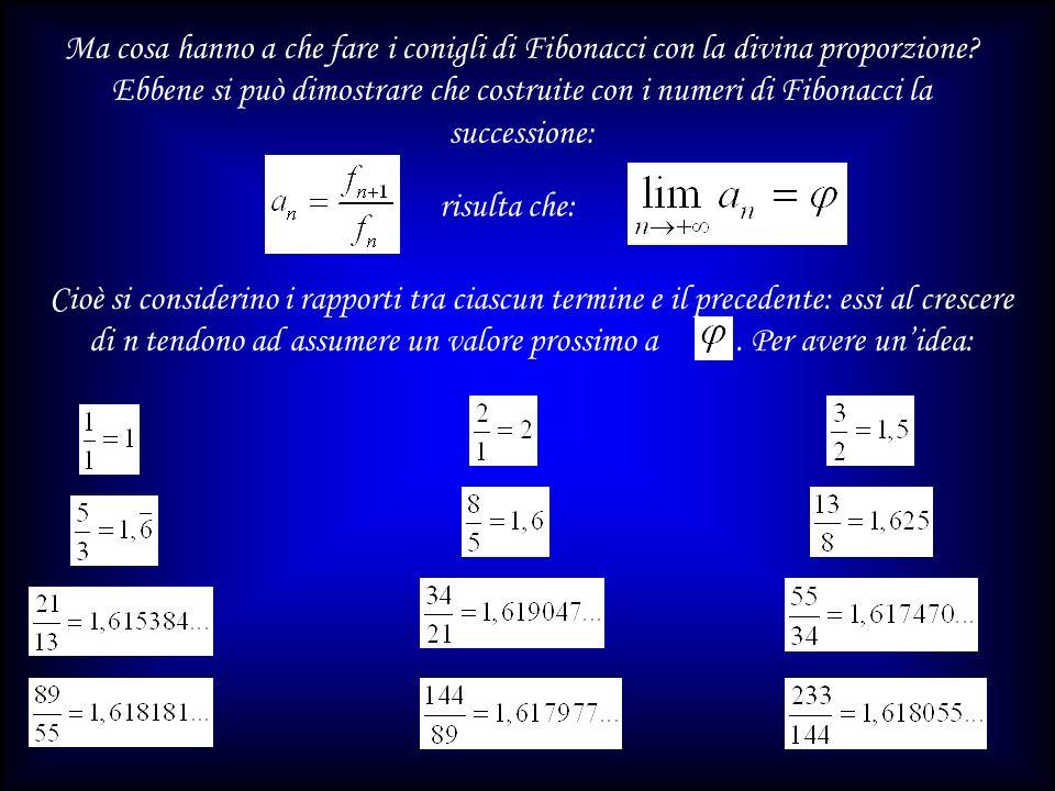Ma cosa hanno a che fare i conigli di Fibonacci con la divina proporzione Ebbene si può dimostrare che costruite con i numeri di Fibonacci la successione: