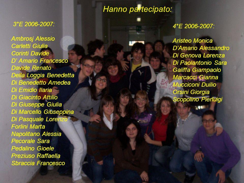Hanno partecipato: 3°E 2006-2007: 4°E 2006-2007: Ambrosj Alessio