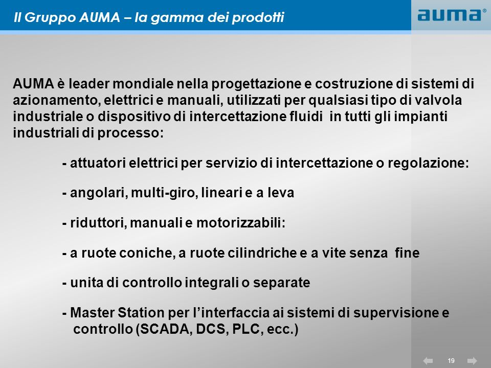 Il Gruppo AUMA – la gamma dei prodotti