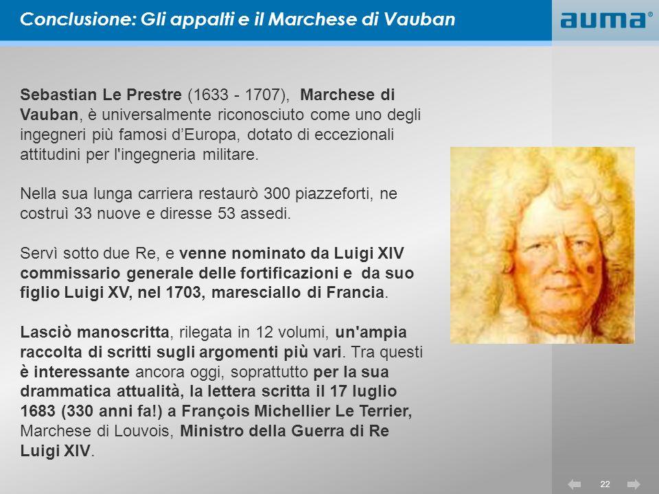 Conclusione: Gli appalti e il Marchese di Vauban