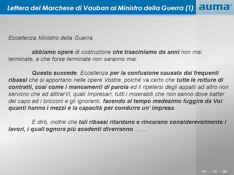 Lettera del Marchese di Vauban al Ministro della Guerra (1)