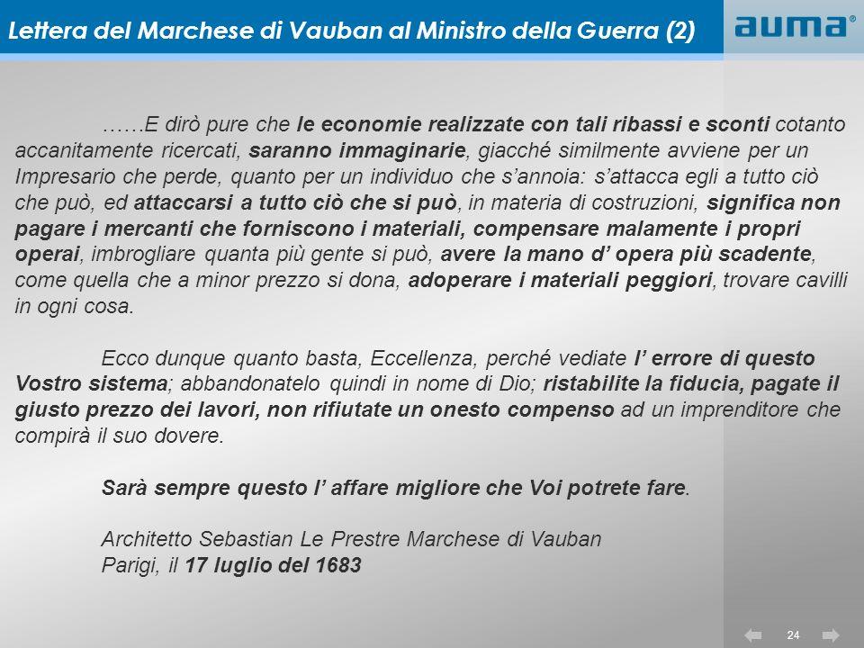 Lettera del Marchese di Vauban al Ministro della Guerra (2)