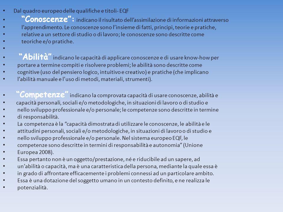 Dal quadro europeo delle qualifiche e titoli- EQF