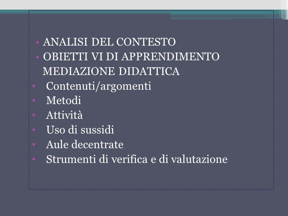 ANALISI DEL CONTESTO OBIETTI VI DI APPRENDIMENTO. MEDIAZIONE DIDATTICA. Contenuti/argomenti. Metodi.