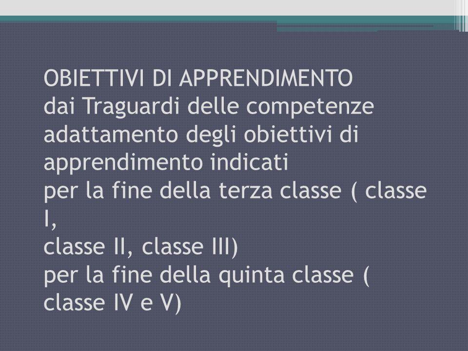 OBIETTIVI DI APPRENDIMENTO dai Traguardi delle competenze adattamento degli obiettivi di apprendimento indicati per la fine della terza classe ( classe I, classe II, classe III) per la fine della quinta classe ( classe IV e V)