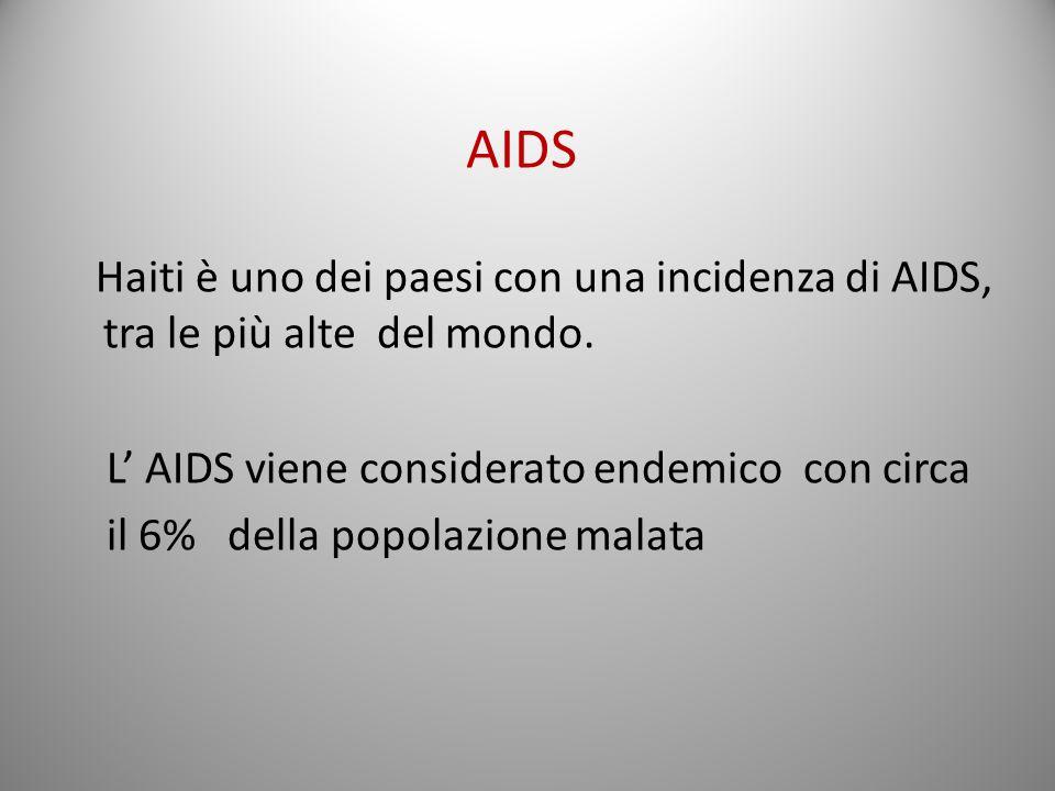 Haiti è uno dei paesi con una incidenza di AIDS, tra le più alte del mondo. L' AIDS viene considerato endemico con circa il 6% della popolazione malata