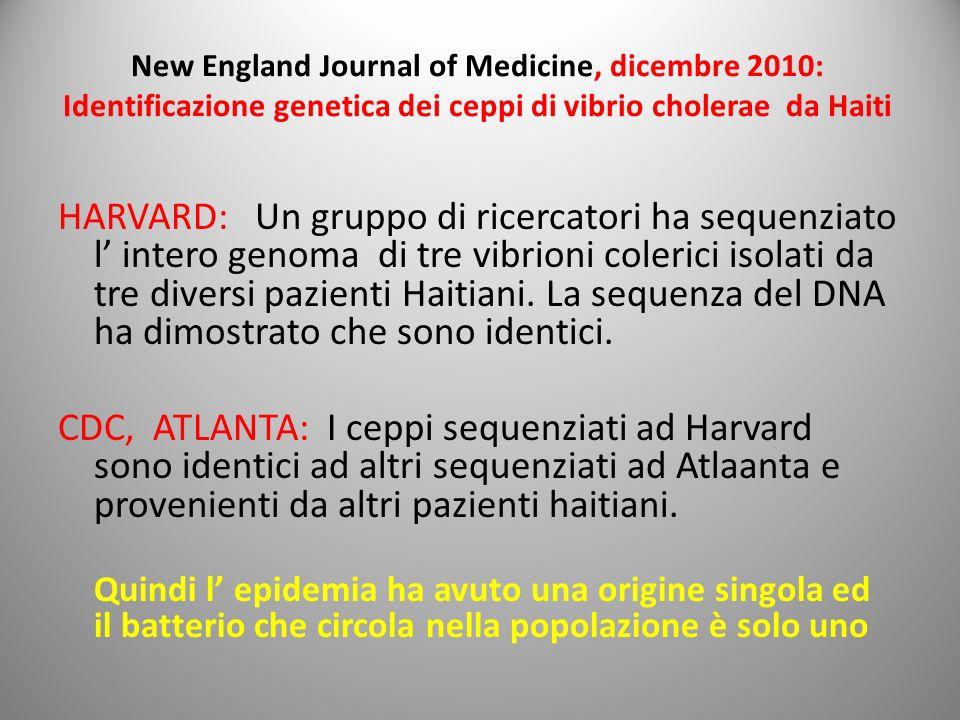 New England Journal of Medicine, dicembre 2010: Identificazione genetica dei ceppi di vibrio cholerae da Haiti