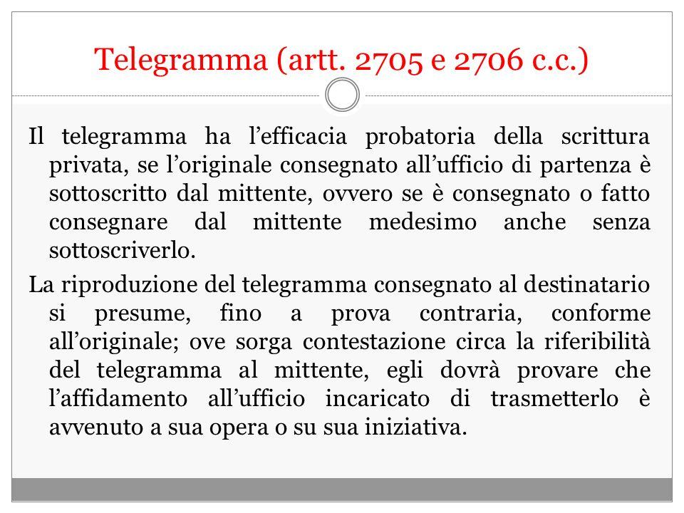 Telegramma (artt. 2705 e 2706 c.c.)