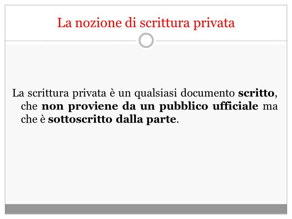 La nozione di scrittura privata