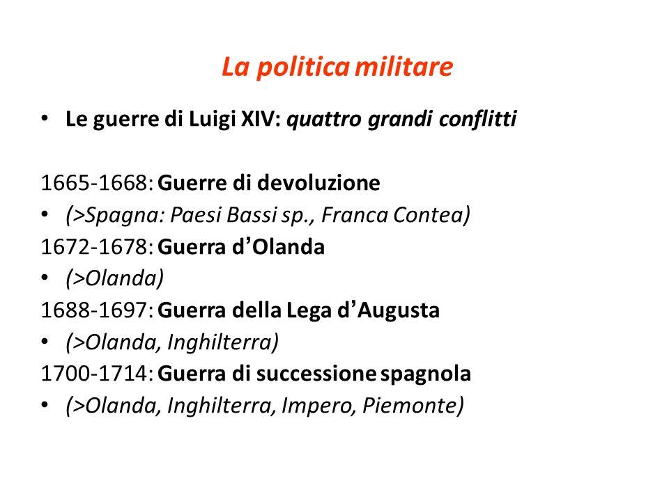 La politica militare Le guerre di Luigi XIV: quattro grandi conflitti