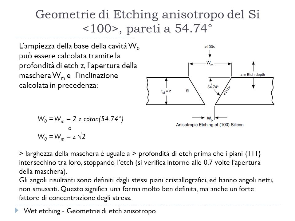 Geometrie di Etching anisotropo del Si <100>, pareti a 54.74°