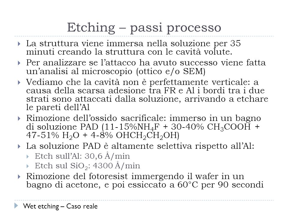 Etching – passi processo