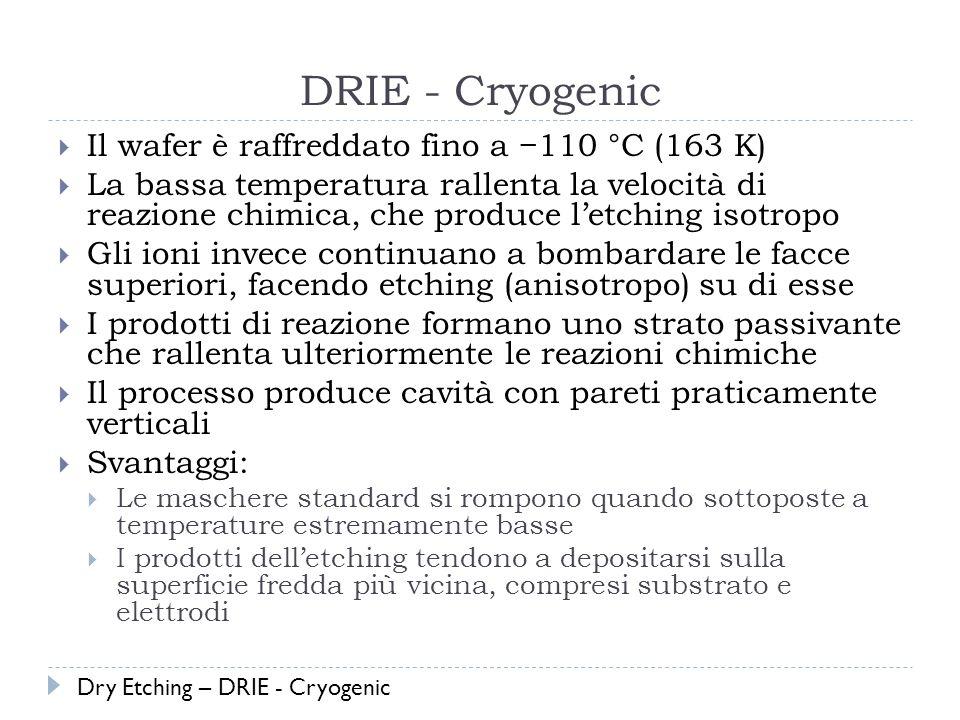 DRIE - Cryogenic Il wafer è raffreddato fino a −110 °C (163 K)