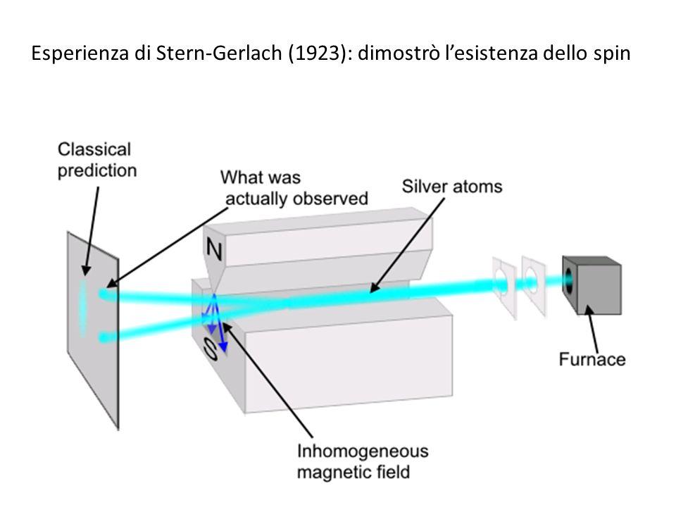 Esperienza di Stern-Gerlach (1923): dimostrò l'esistenza dello spin