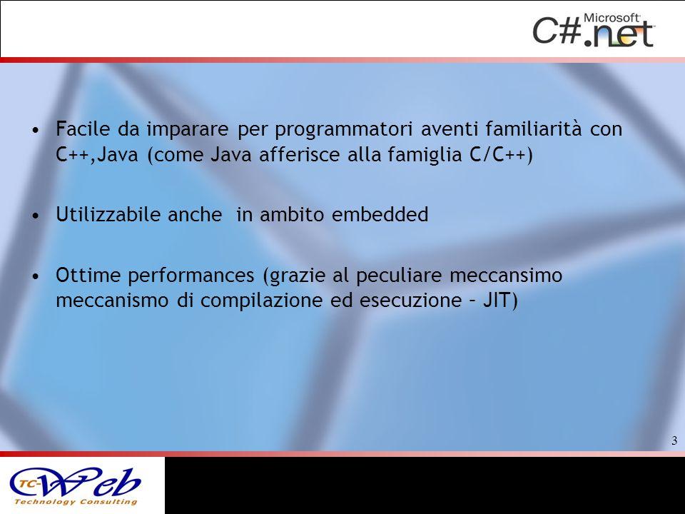 Facile da imparare per programmatori aventi familiarità con C++,Java (come Java afferisce alla famiglia C/C++)