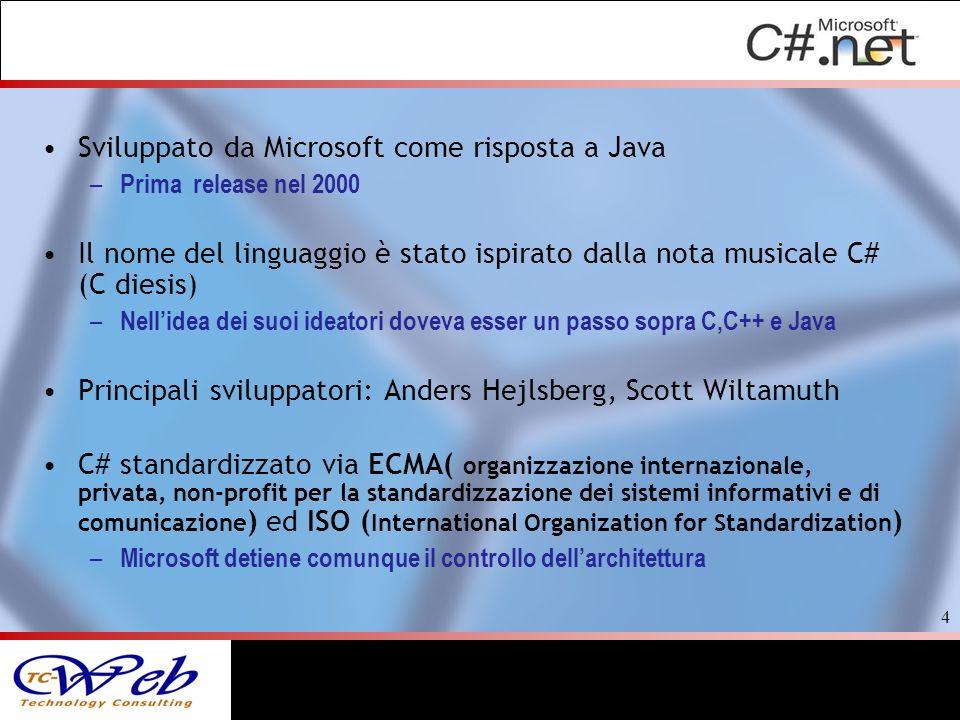 Sviluppato da Microsoft come risposta a Java