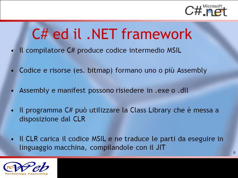 C# ed il .NET framework Il compilatore C# produce codice intermedio MSIL. Codice e risorse (es. bitmap) formano uno o più Assembly.