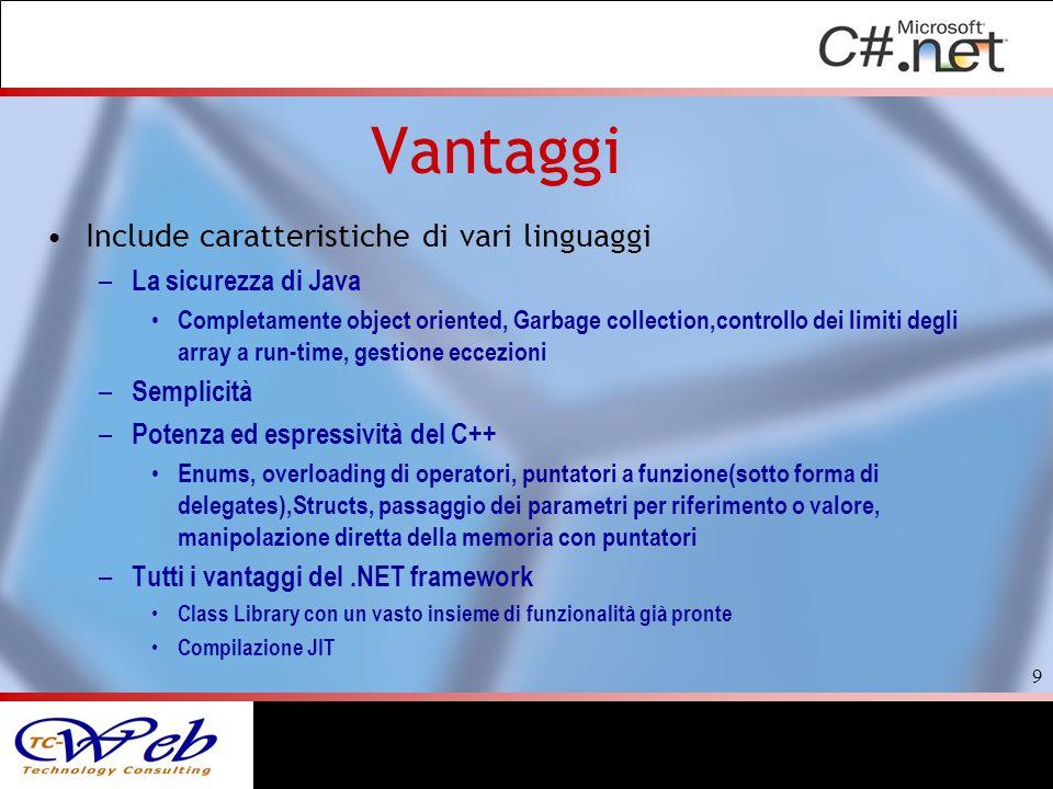 Vantaggi Include caratteristiche di vari linguaggi