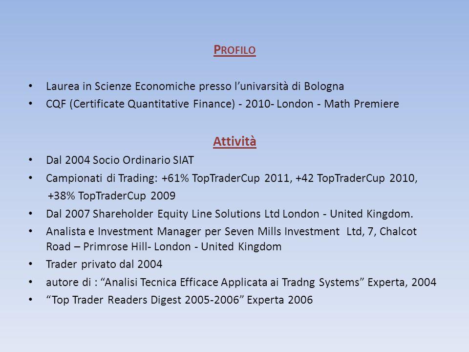 Profilo Laurea in Scienze Economiche presso l'univarsità di Bologna. CQF (Certificate Quantitative Finance) - 2010- London - Math Premiere.