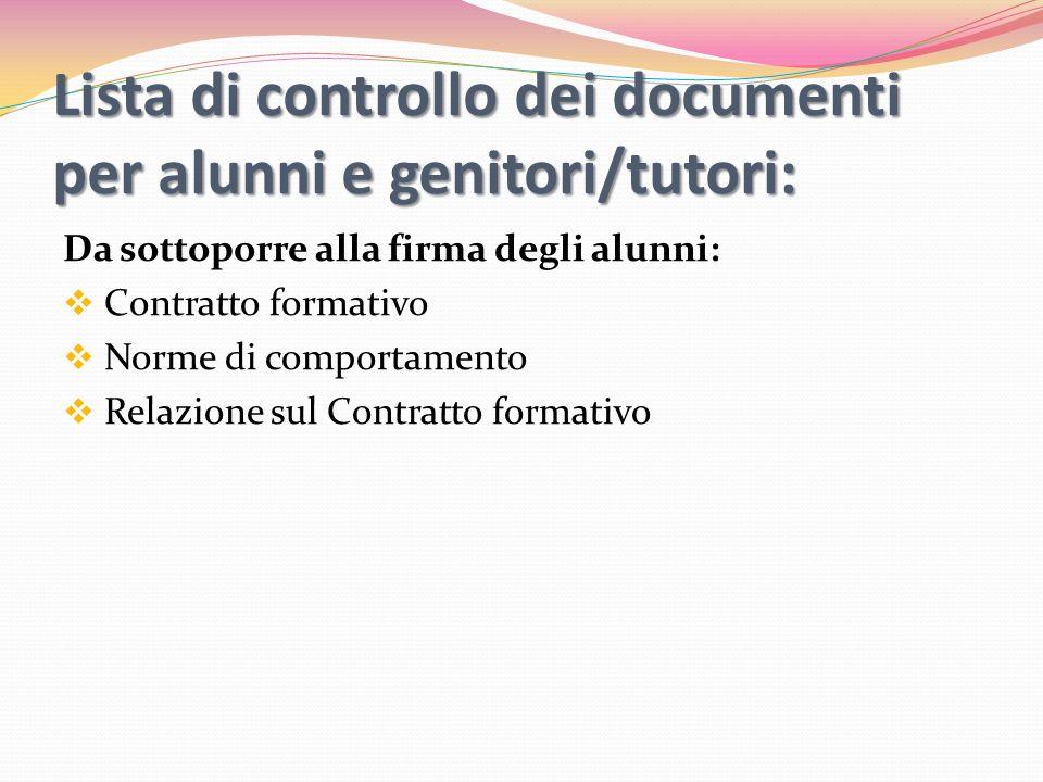 Lista di controllo dei documenti per alunni e genitori/tutori: