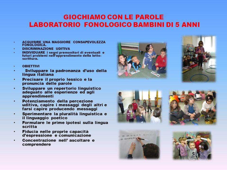 GIOCHIAMO CON LE PAROLE LABORATORIO FONOLOGICO BAMBINI DI 5 ANNI