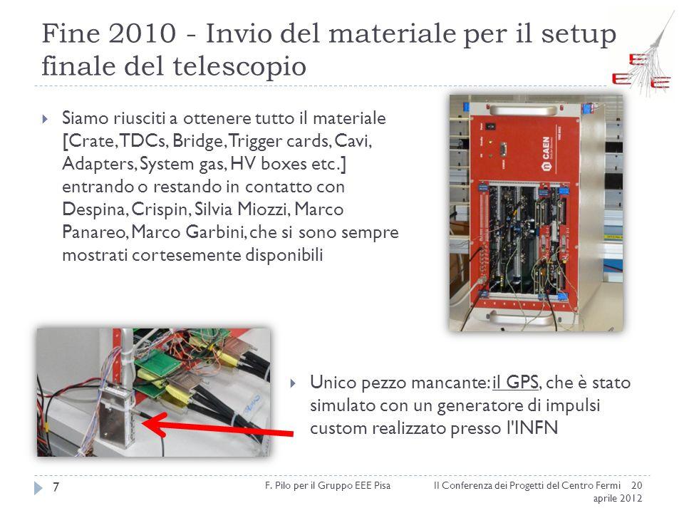 Fine 2010 - Invio del materiale per il setup finale del telescopio