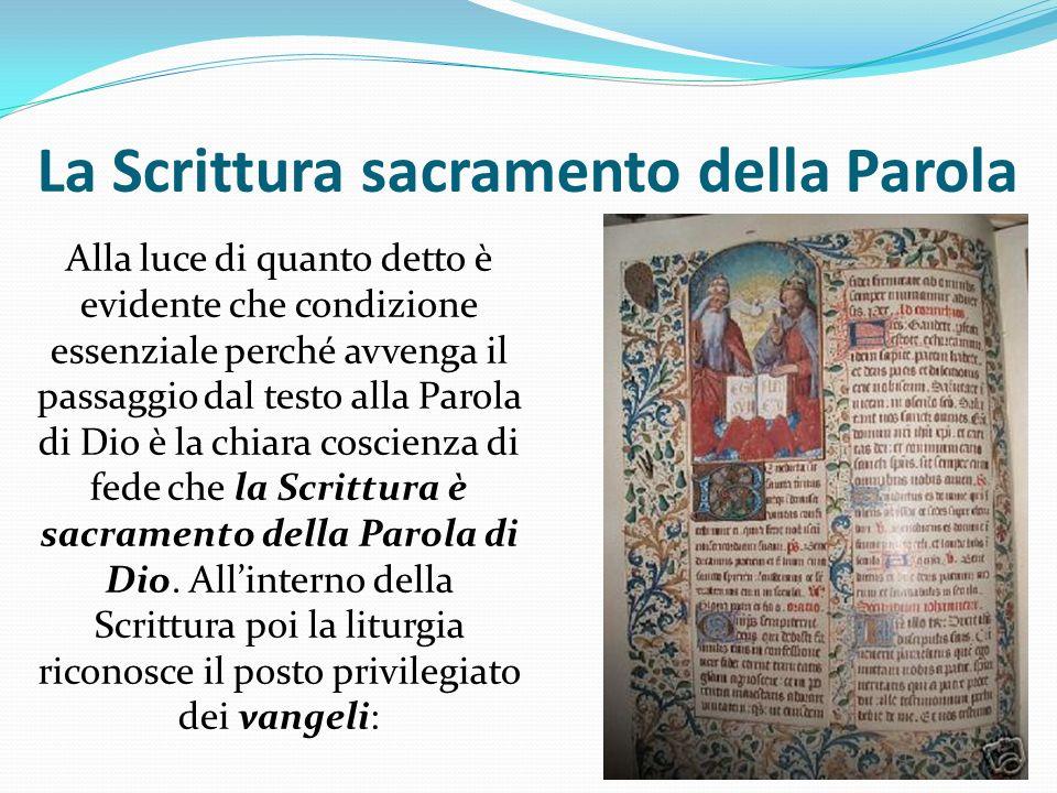 La Scrittura sacramento della Parola