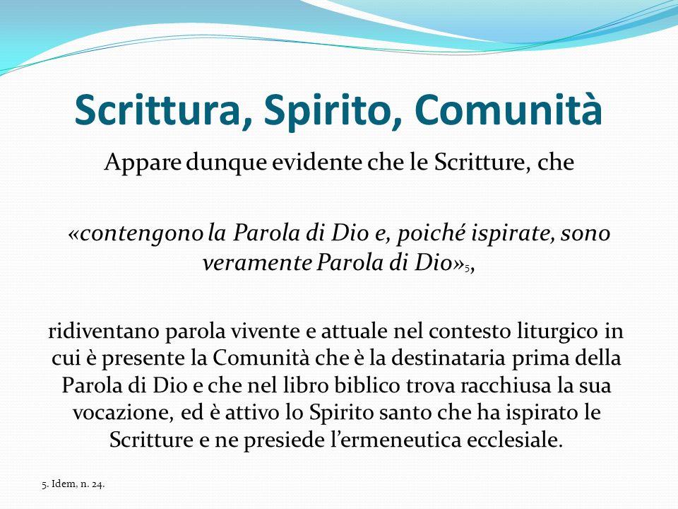 Scrittura, Spirito, Comunità