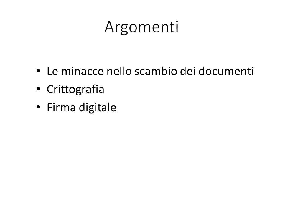 Argomenti Le minacce nello scambio dei documenti Crittografia