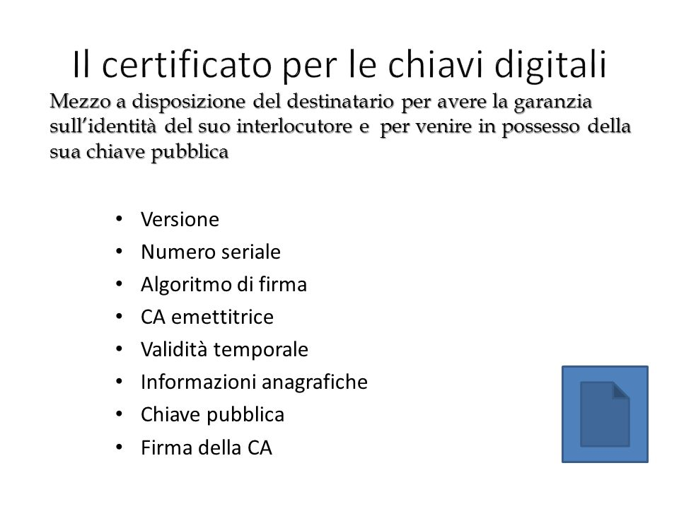 Il certificato per le chiavi digitali