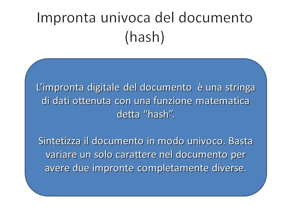 Impronta univoca del documento (hash)