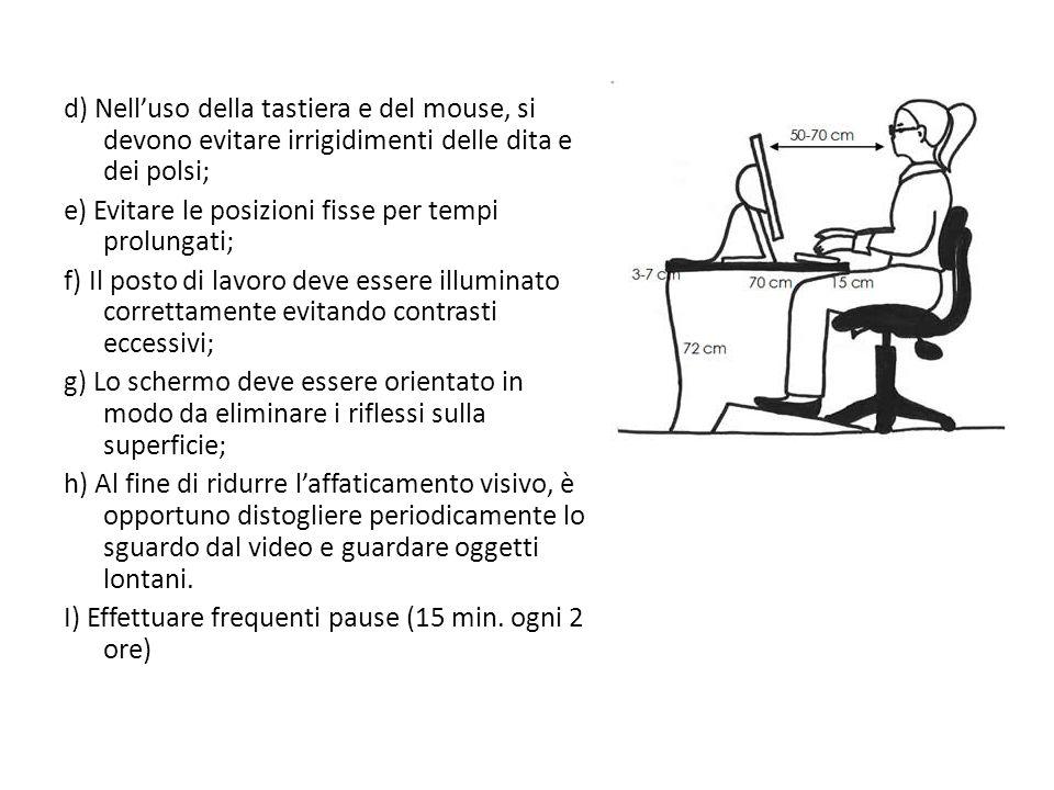 d) Nell'uso della tastiera e del mouse, si devono evitare irrigidimenti delle dita e dei polsi;