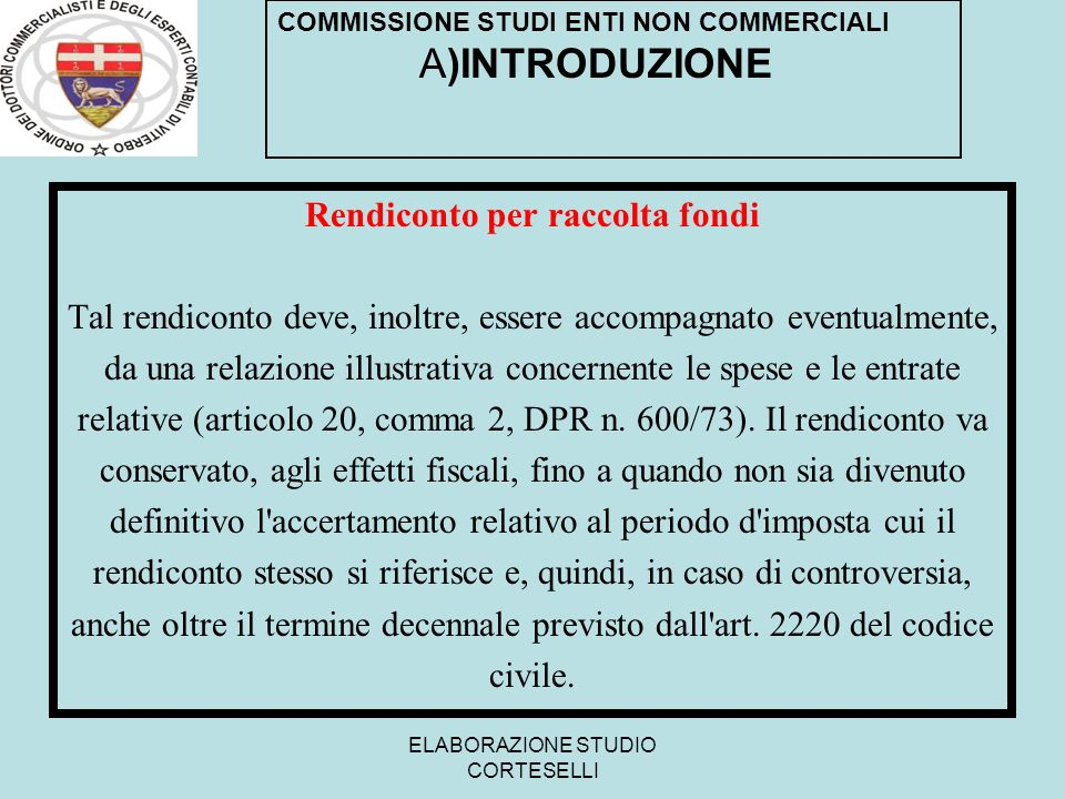 Rendiconto per raccolta fondi