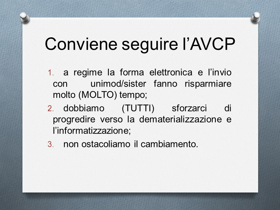 Conviene seguire l'AVCP