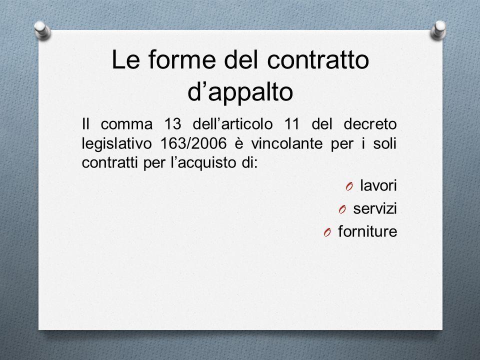 Le forme del contratto d'appalto