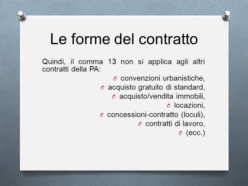 Le forme del contratto Quindi, il comma 13 non si applica agli altri contratti della PA: convenzioni urbanistiche,