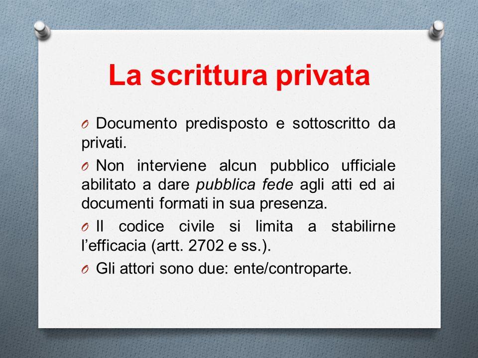 La scrittura privata Documento predisposto e sottoscritto da privati.