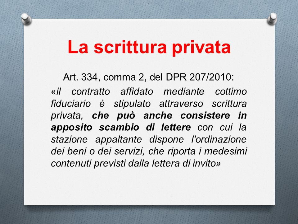La scrittura privata