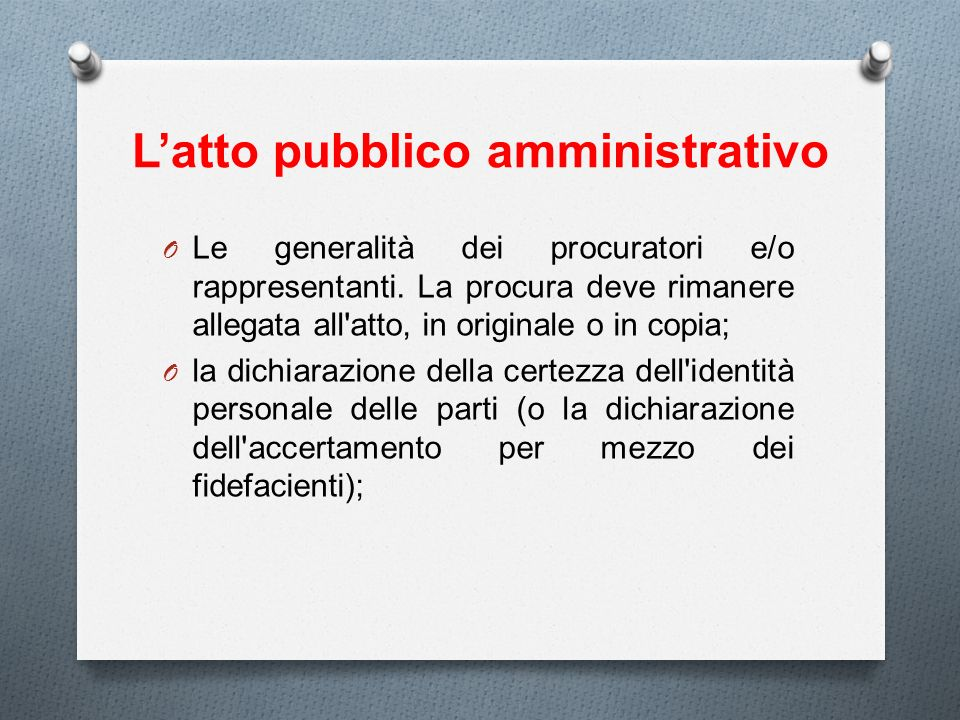 L'atto pubblico amministrativo