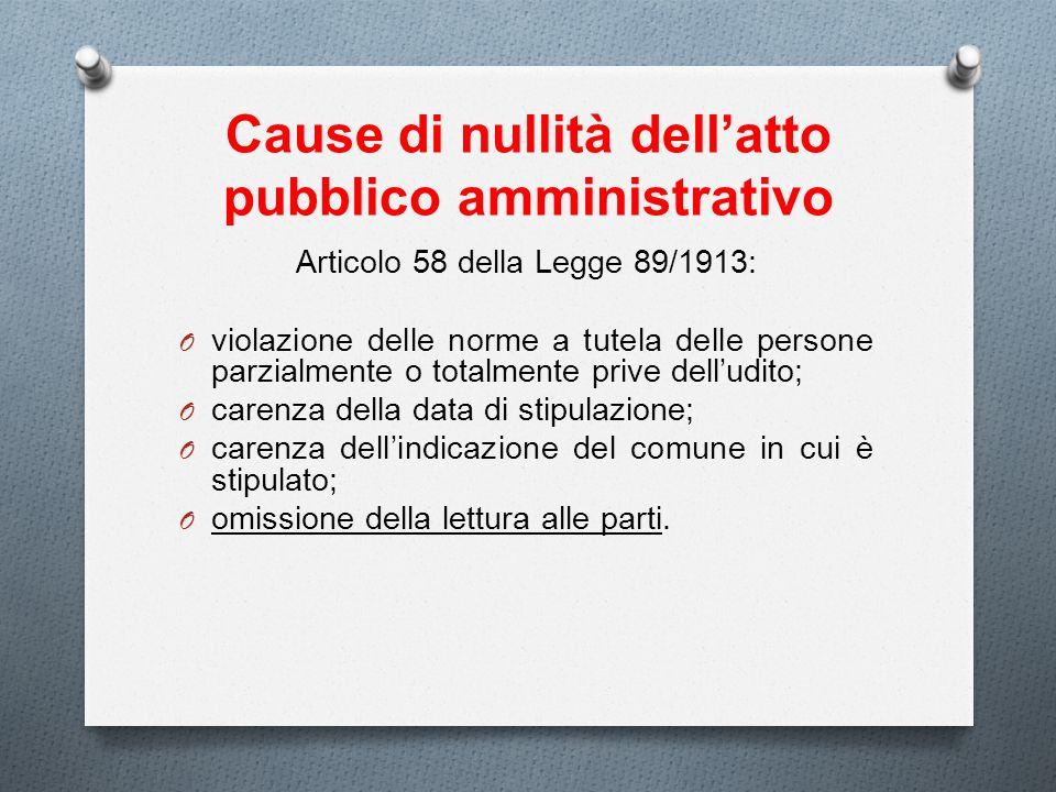 Cause di nullità dell'atto pubblico amministrativo