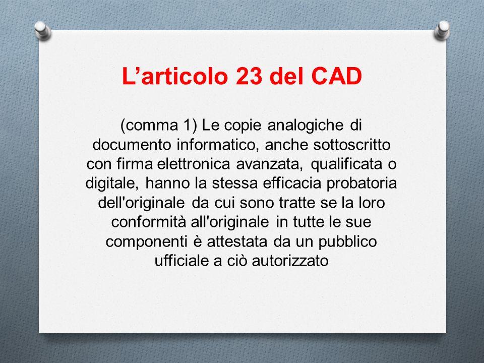 L'articolo 23 del CAD
