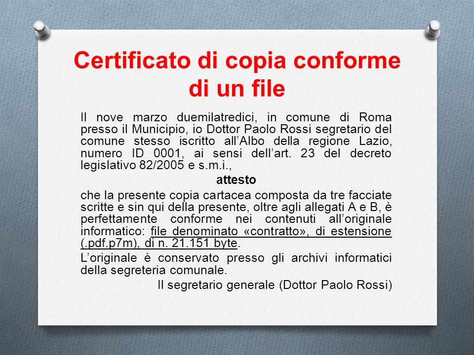Certificato di copia conforme di un file