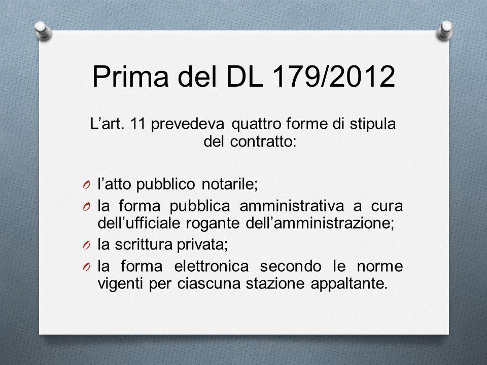 L'art. 11 prevedeva quattro forme di stipula del contratto: