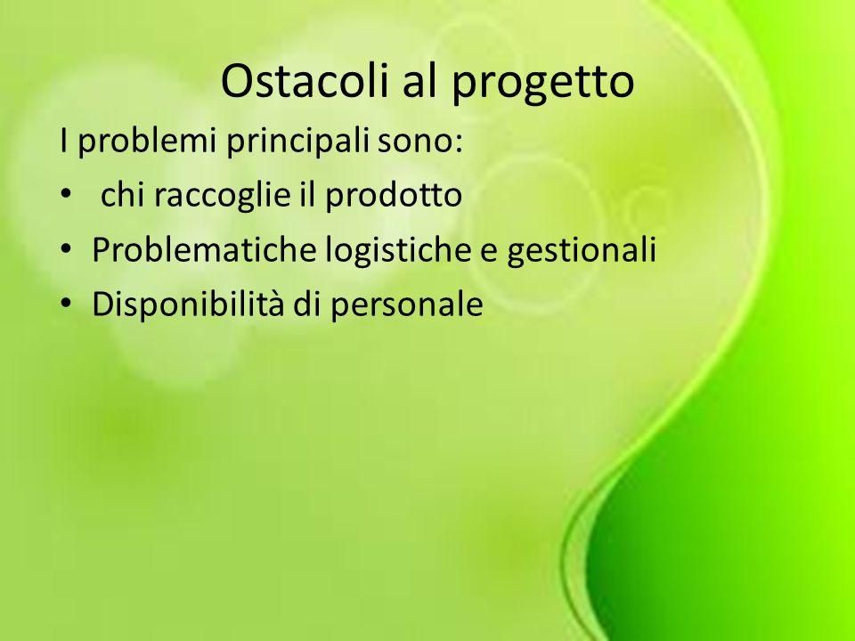 Ostacoli al progetto I problemi principali sono: