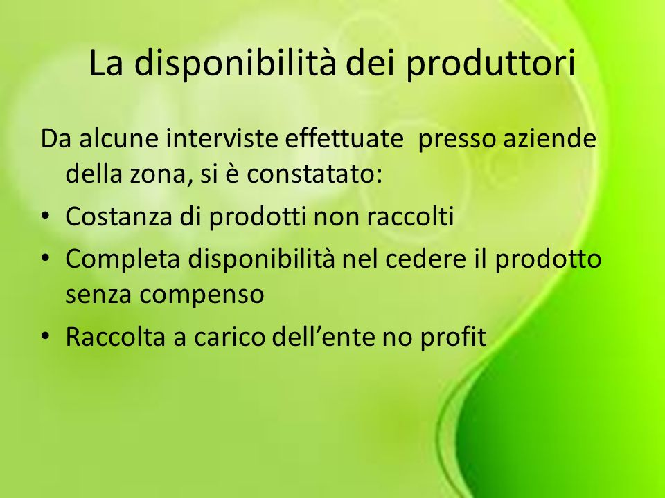 La disponibilità dei produttori